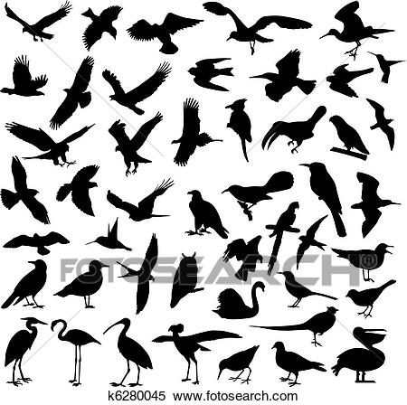 Birds silhouettes Clipart.