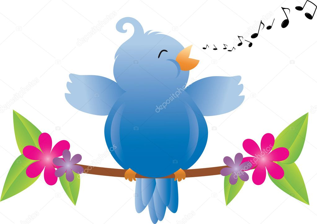 Clipart: bird singing.