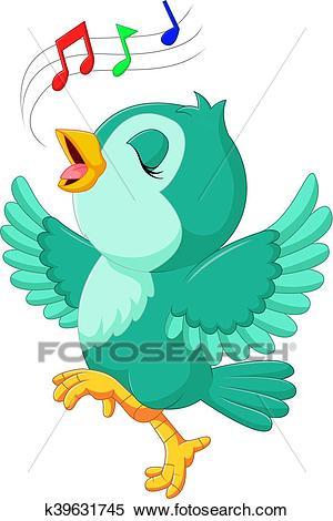Cute bird singing Clipart.