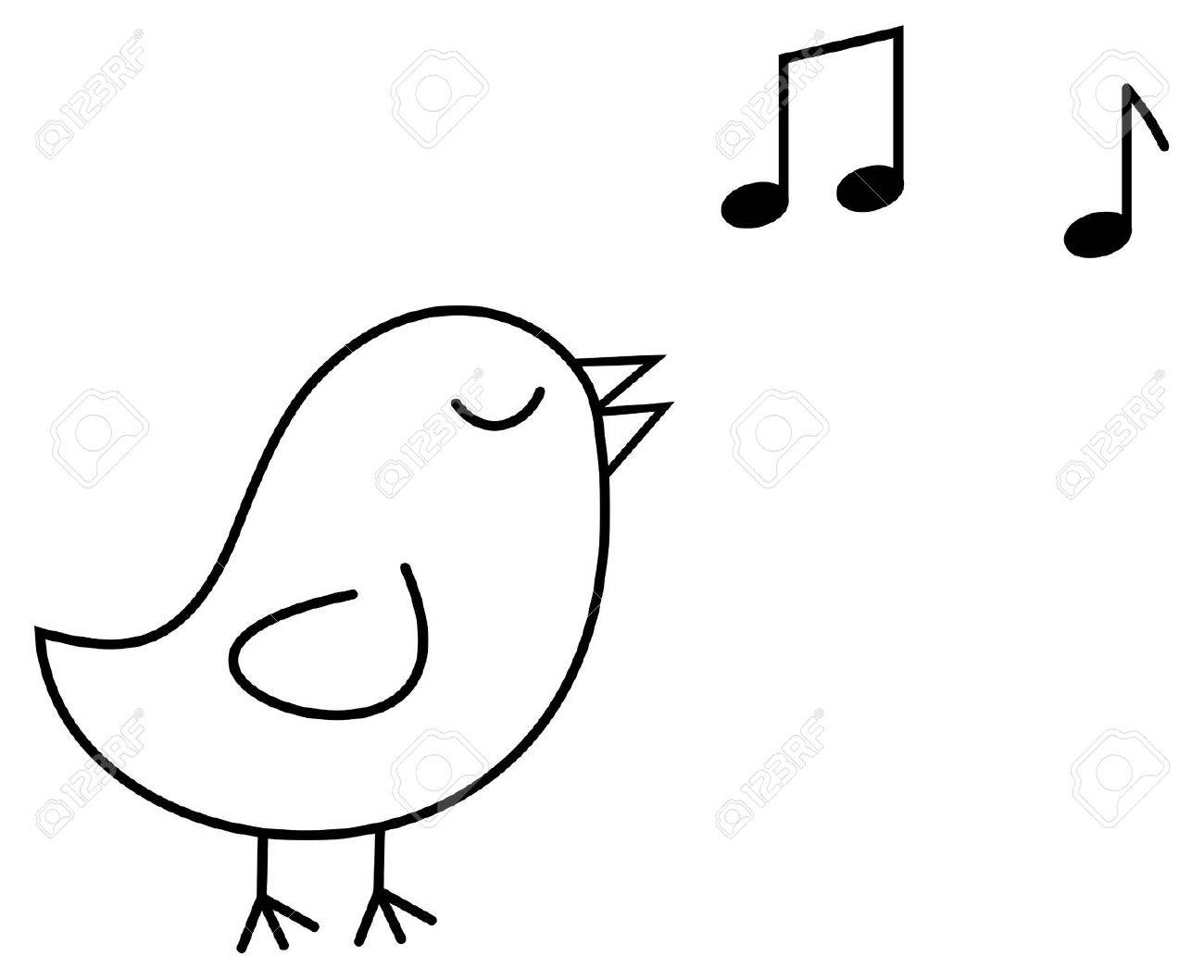 Bird Singing Clipart Black And White.