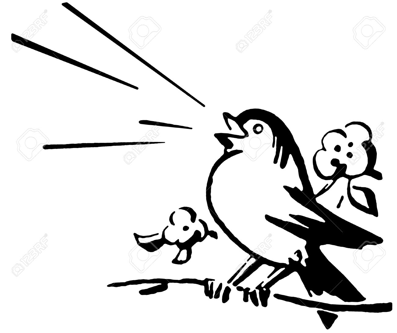 Singing bird clipart black and white 2 » Clipart Station.