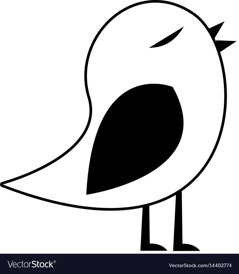 Black silhouette of bird singing.