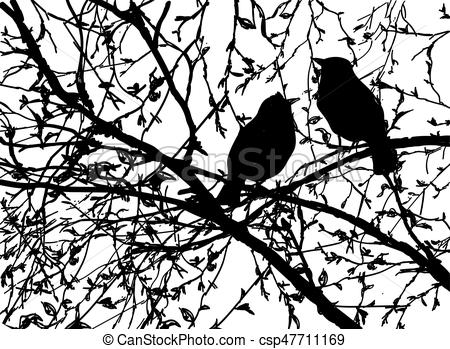 Vector silhouettes of birds at branch tree.