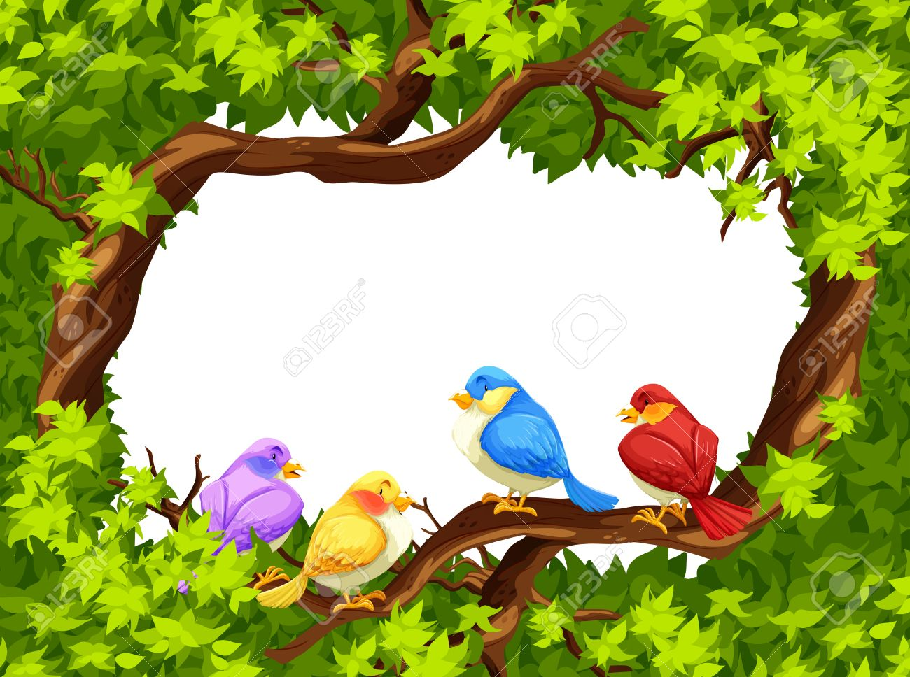 Four birds sitting on a branch of a tree.