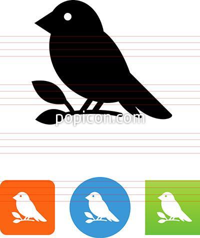 Bird Sitting On A Branch Icon.