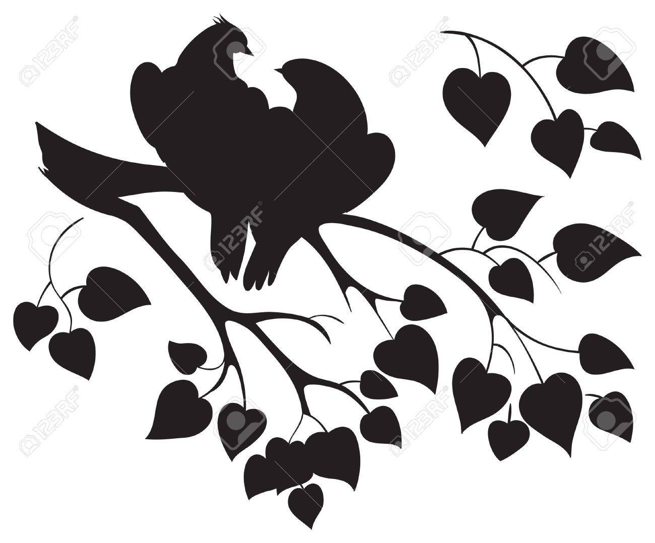 Vector silhouette of love birds sitting on branch tree.