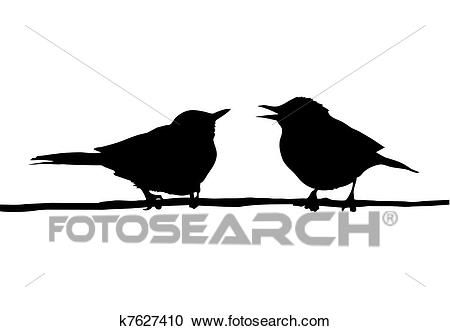 Drawing two birds sitting on branch Clipart.