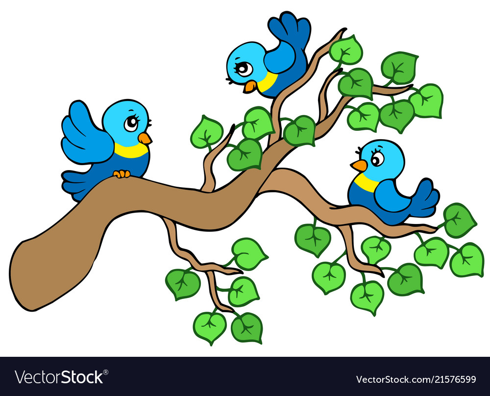 Three small birds sitting on branch.