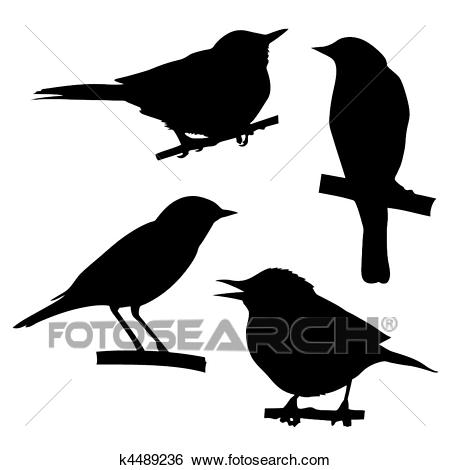 Vector silhouettes of the birds sitting on branch tree Clip Art.