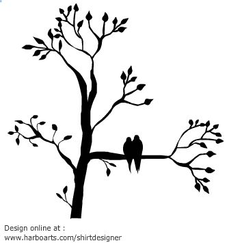 Silhouette of a tree with leaves with two birds sitting on a branch.