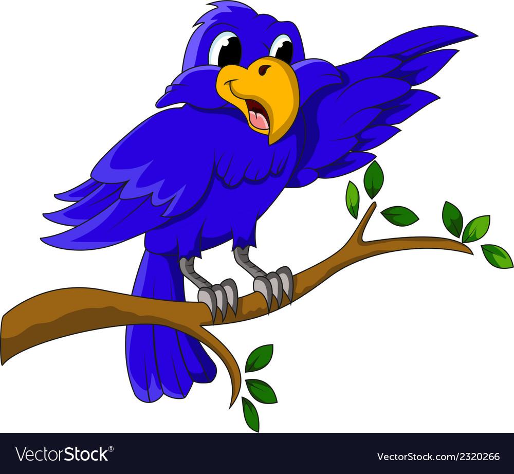 Blue bird cartoon character sitting on a branch.