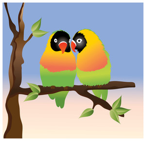 Birds Sitting On A Tree Clipart.