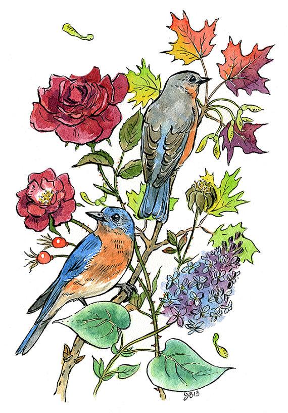 New York state symbols: blue bird flower rose tree sugar.