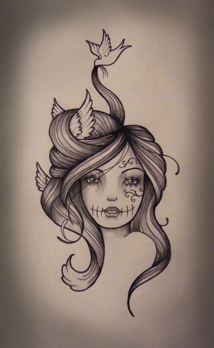 Woman With Tattoo Clipart.