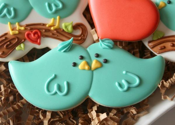 Decorated Love Bird Cookies.