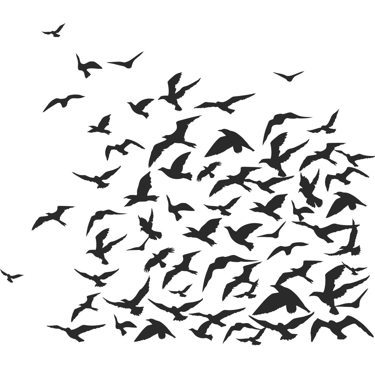 Flock of Birds Clip Art.