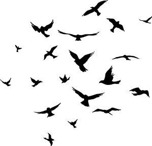 Swarm of Birds Clip Art.