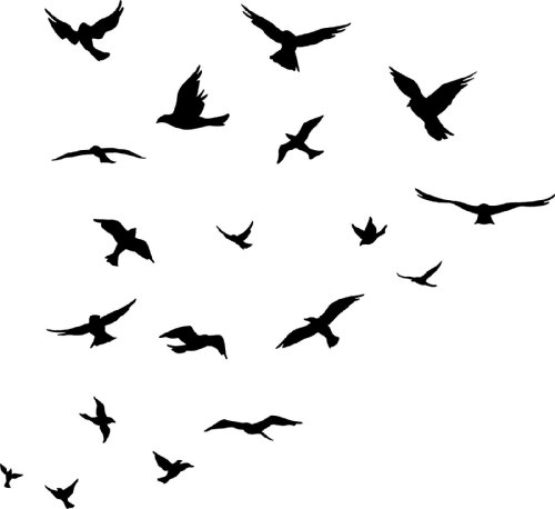 Flock of birds clip art.