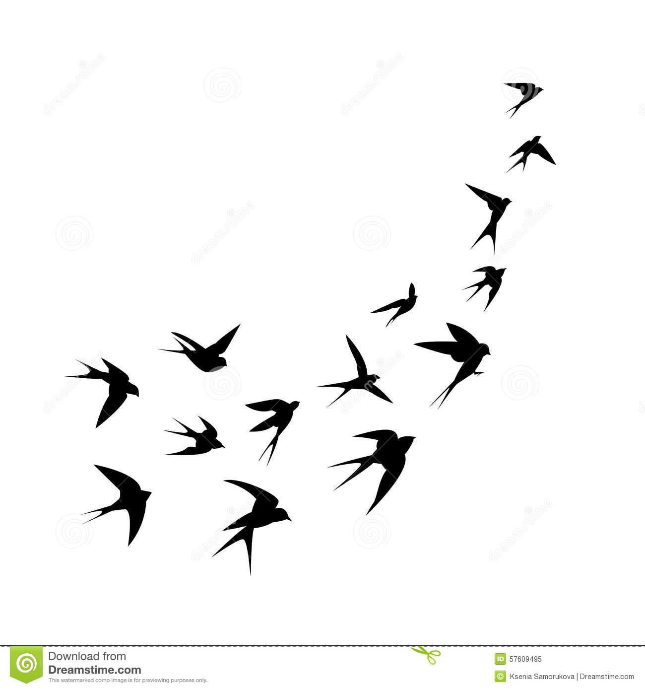 Flock Of Birds Silhouette Royalty Free Stock Photo.