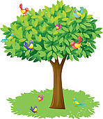 Clipart birds and trees.