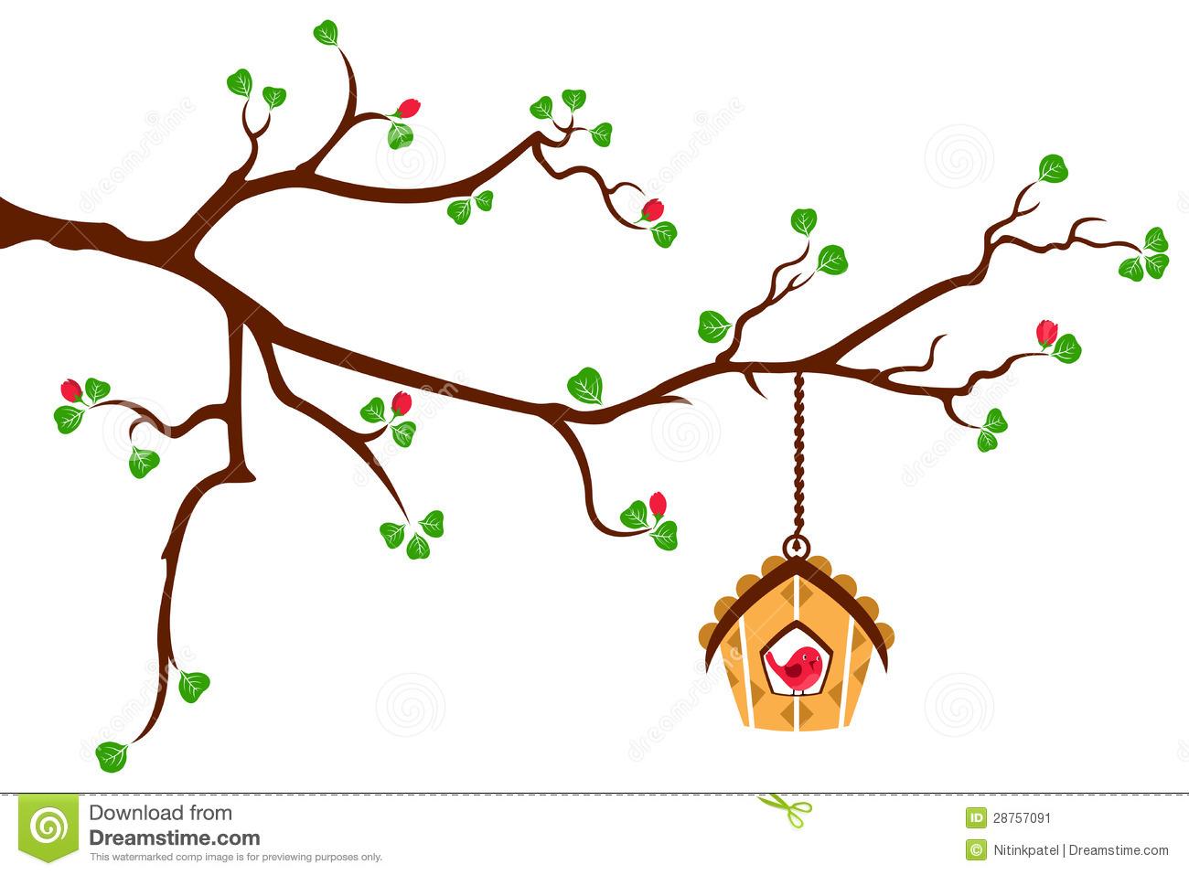 Bird on tree branch clip art.