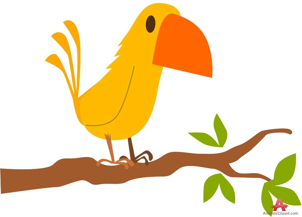 Bird in tree clipart.