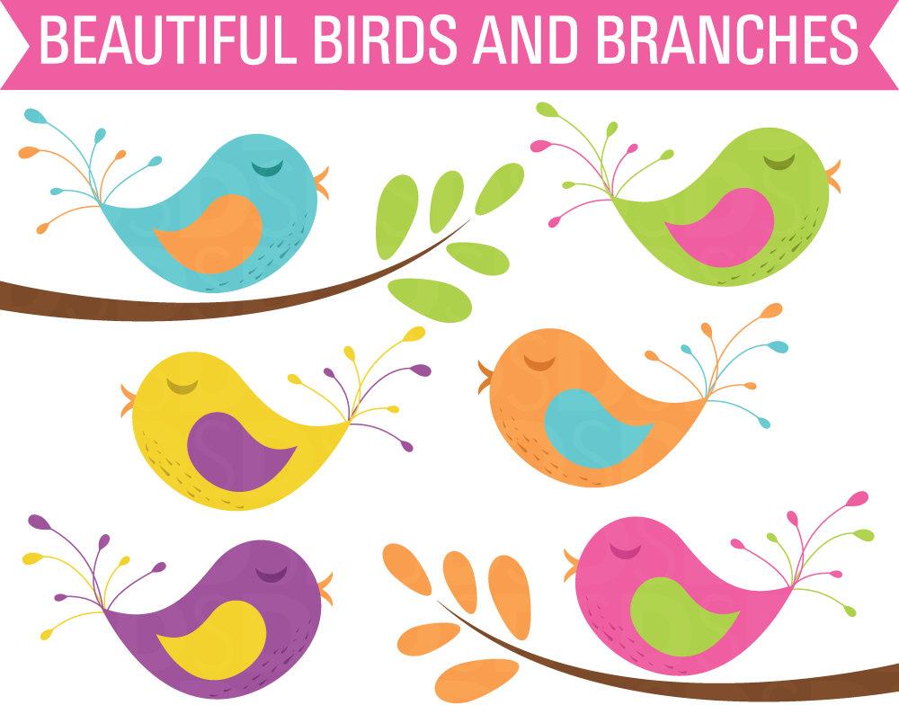 80% OFF Sale Clipart Birds, Clipart Tree Branch, Digital Birds.