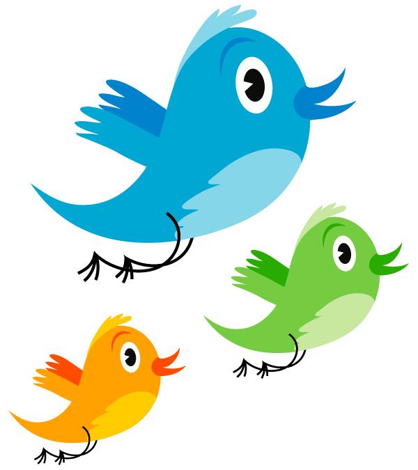Cute Twitter Bird Vector Image.
