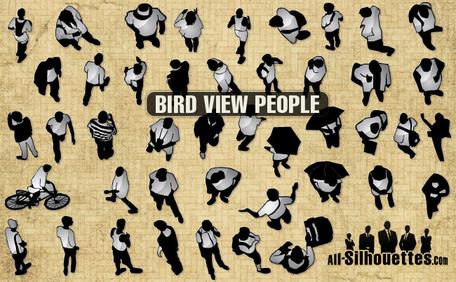 44 Bird view vector people, Vector Images.