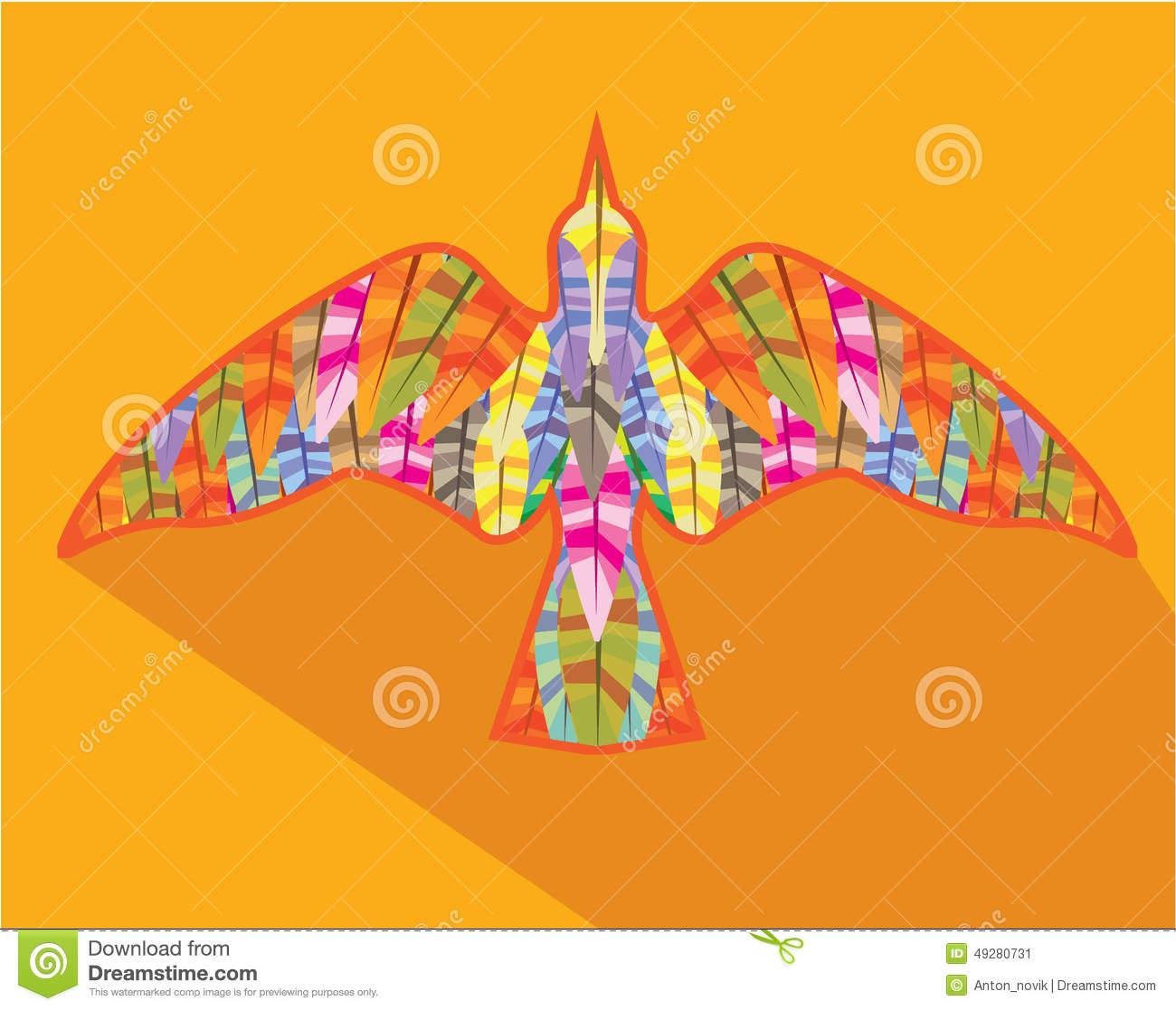 Color Bird Top View Stock Vector.