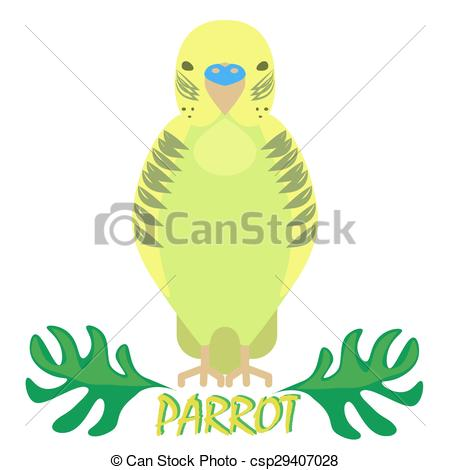 Vector Illustration of Parrot isolated front view on white. Green.