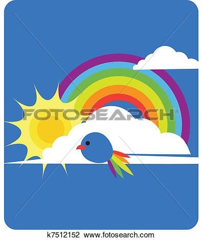 Clipart of sky view of rainbow, sun, clouds and bird k7512152.