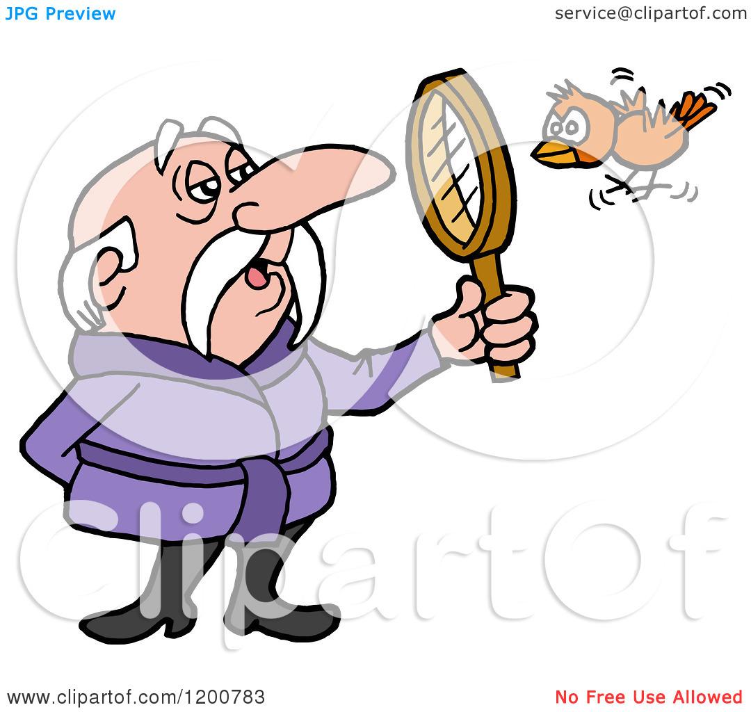 Cartoon of a Senior Birdwatching Man in a Robe, Viewing a Bird.