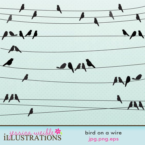 Bird on a Wire clipart set comes with 5 different strands of wire.