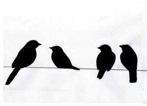 Clipart birds on a wire.