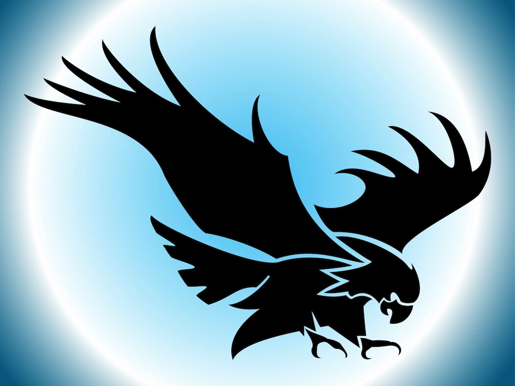 Image: Clip Art silhouette of bird with outstretched wings.