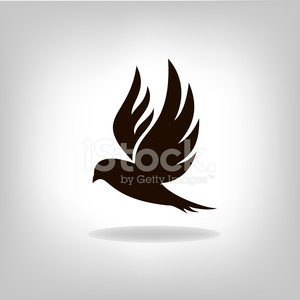 Black bird isolated with outstretched wings Clipart Image.
