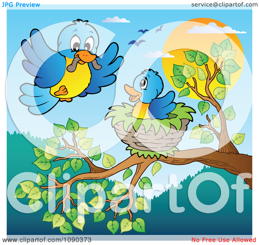 Clipart Blue Bird Delivering A Worm To A Young One In A Tree Nest.