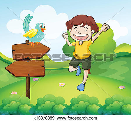Clip Art of The wooden arrows with a bird beside a young man.