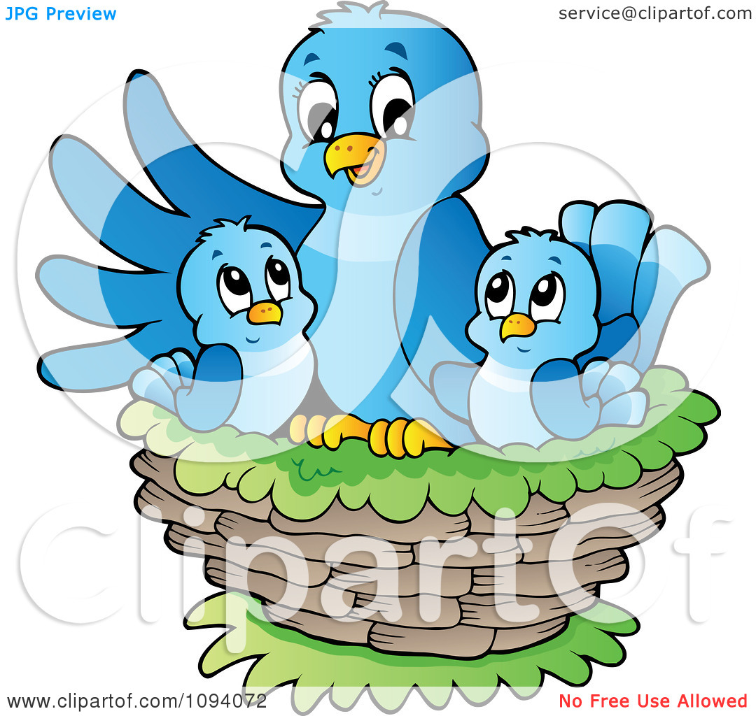 Clipart Blue Bird And Chicks In A Nest.
