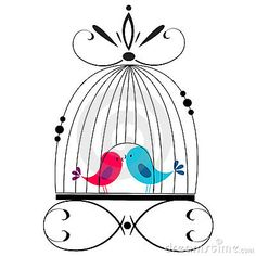 Cute bird cage clipart.