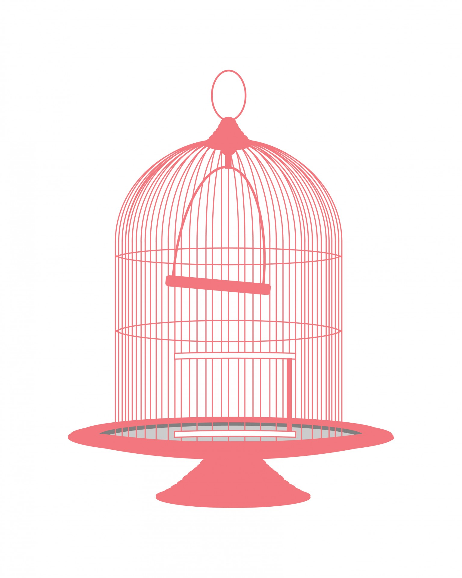 Vintage Pink Birdcage Clipart Free Stock Photo.