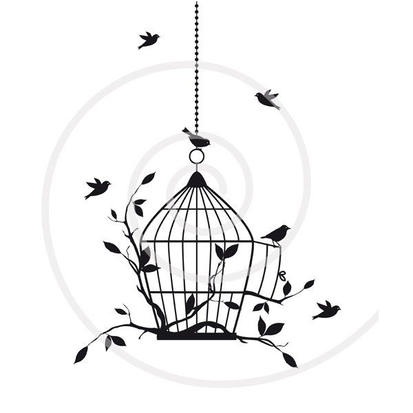 Birds with open birdcage, digital clip art, clipart.