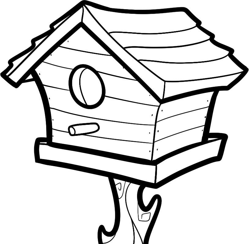 Free Birdhouse Clipart Black And White, Download Free Clip.