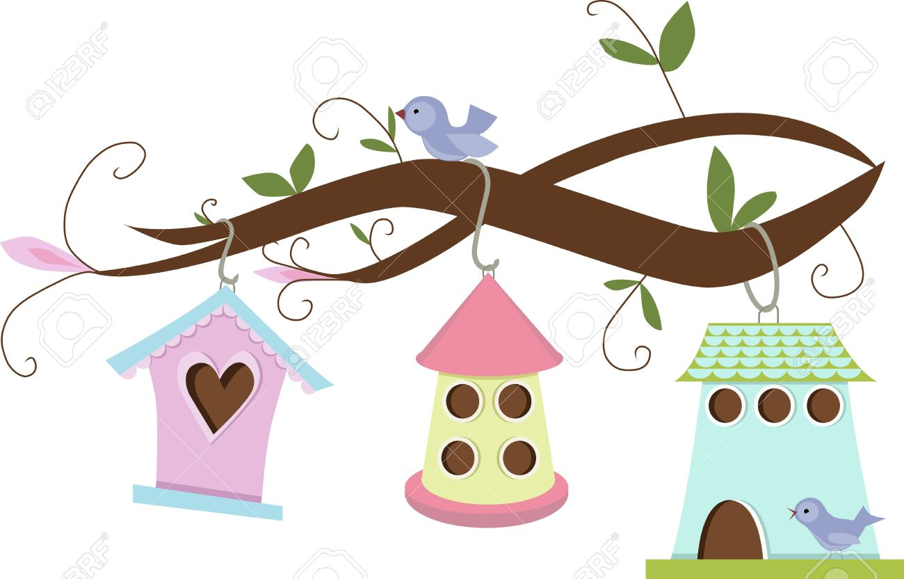 Cute birdhouses hanging on tree branches.