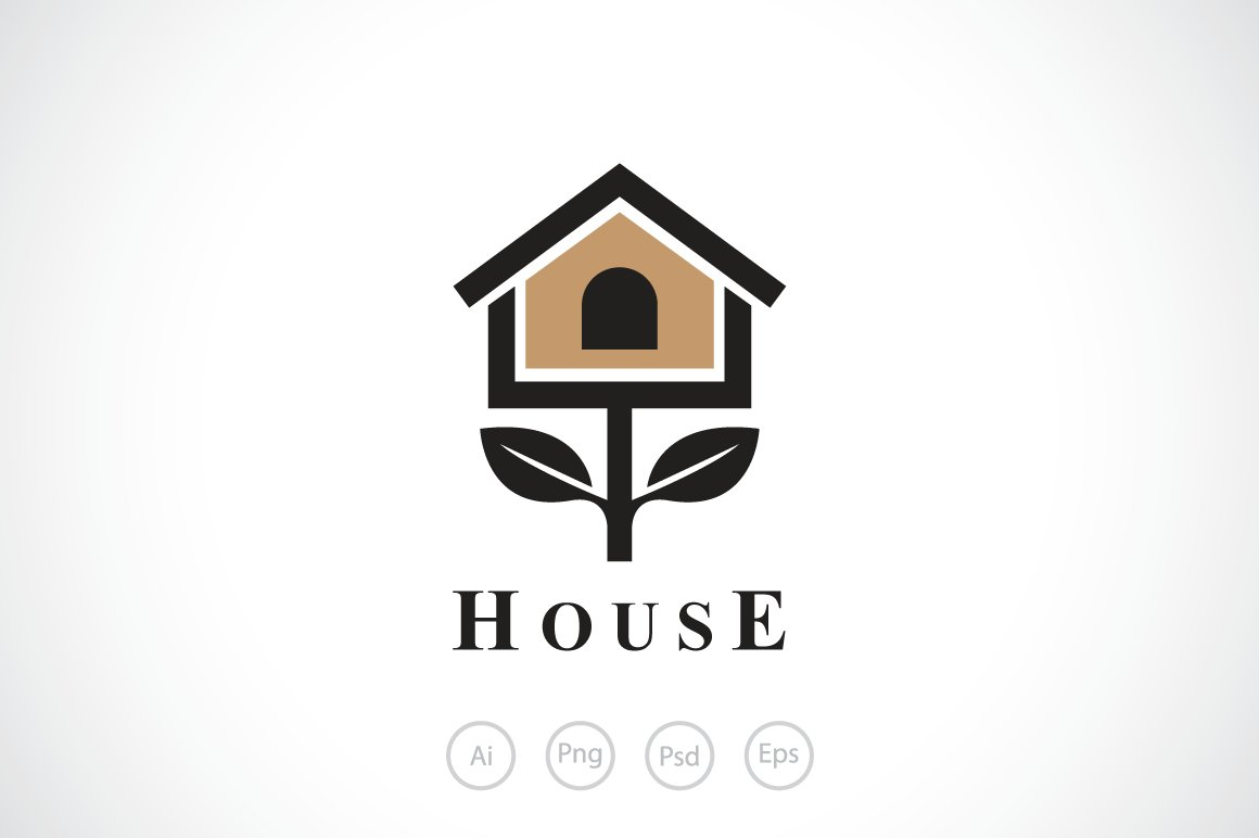 BirdHouse Tree Logo Template.