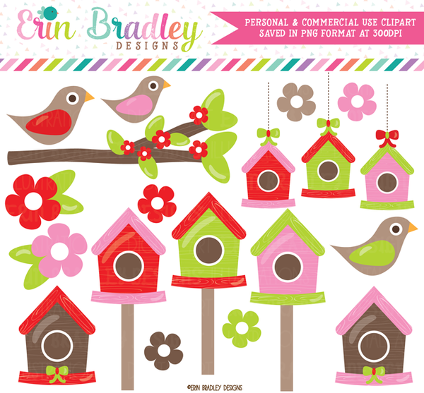 Christmas Birdhouses Clipart.