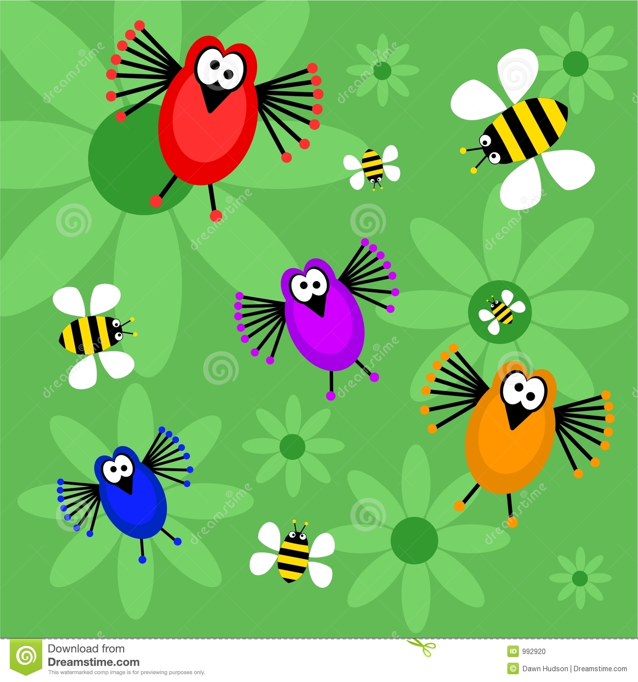 Birds And Bees Stock Photo.
