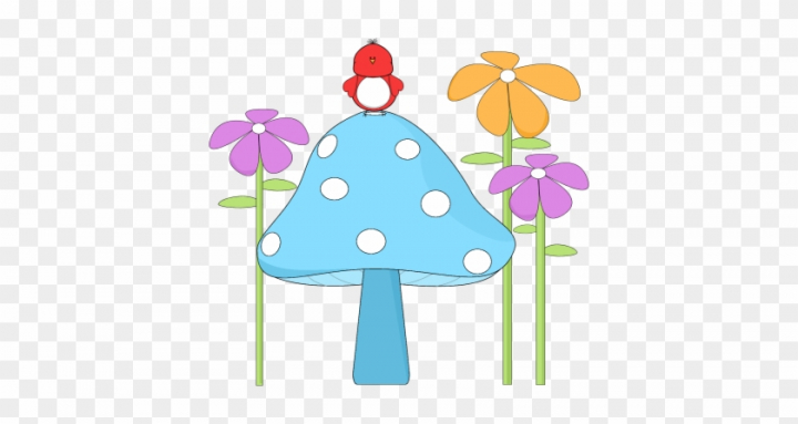 Mushroom With A Bird And Flowers.