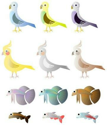 Free bird and fishes vector.
